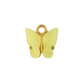 Charm farfalla in acrilico giallo 10x8mm